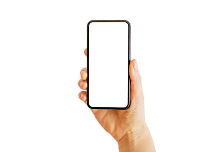 Photo pour Person using phone with empty white screen. Mobile app mockup. - image libre de droit