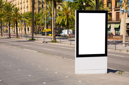 Photo pour Empty advertising stand mockup on street - image libre de droit