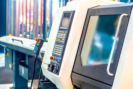 Photo pour Programmable milling machine. Programmable machine with numerical control. Milling industry. CNC technology. Industrial equipment. - image libre de droit