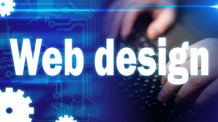 Photo pour Web design. Work in the IT field. Concept - designer works at the computer. UX designer is working on the site. Web designer typeset the site. Concept - hands of the human on the keyboard - image libre de droit