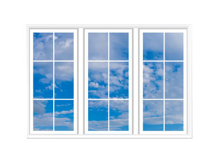 Photo for Three windows on a white background. Large white windows. Clear blue sky is visible through the windows. Texture with blue sky. White casement on a light wall. Clear weather pattern. - Royalty Free Image