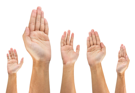 people raise hand on white background