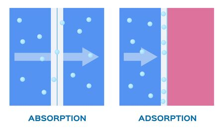 Absorption and adsorption vector icon.