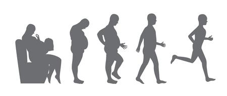 Ilustración de fat to slim body - diet concept,  weight loss Vector illustration. - Imagen libre de derechos