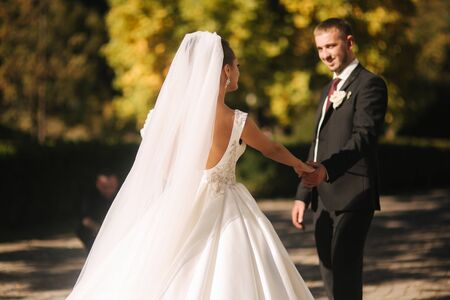 Photo pour Beautiful bride with her husband in the park. They are walking near the yellow tree. Beautiful makeup - image libre de droit
