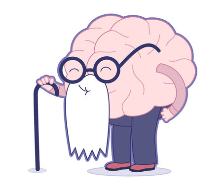 Illustration for Age flat cartoon illustration - an old brain wearing round glasses and long white beard holding a stick. Part of a Brain collection. - Royalty Free Image