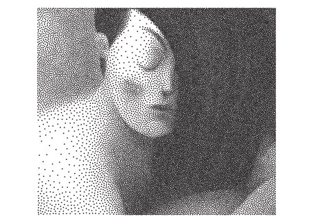 The illustrated halftone dotted black and white portrait of young woman with flowing hair looking down