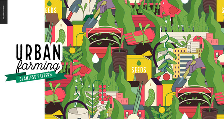 Illustration for Urban farming, gardening or agriculture seamless pattern. - Royalty Free Image