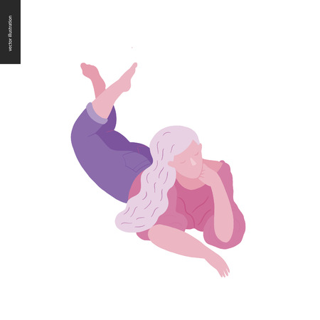 Illustration pour People park festival picnic - flat vector concept illustration of a woman with white hair wearing a blouse and jeans laying on the ground - image libre de droit