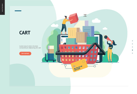 Illustration for Business series, color 1- cart - modern flat vector illustration concept of online shop - people placing boxes into the cart. Purchase cart and shopping process. Creative landing page design template - Royalty Free Image