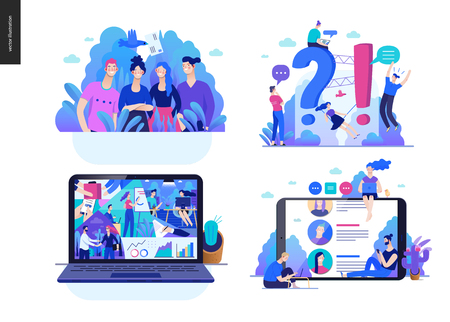 Illustration for Business series set, color 2 -modern flat vector concept illustrated topics - about the company, faq - support, office life, reviews. Creative landing web page design template - Royalty Free Image