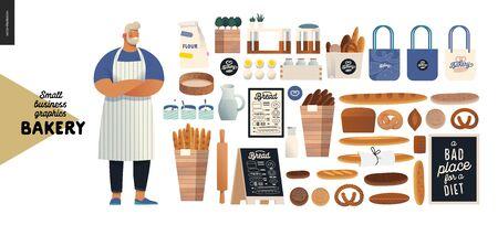 Illustration pour Bakery -small business illustrations - modern flat vector concept illustration of baker wearing apron, bread, logo, cash register, bakery utencils, interior and branded elements - constructor set - image libre de droit