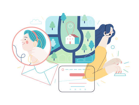 Illustration pour Medical insurance. Direction, map, email, phone, contact form, call operator. Medical help, part of insurance plan. - image libre de droit