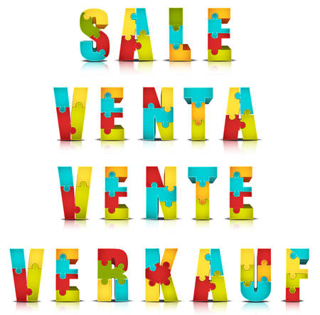 Vector illustration of different languages shopping words made by puzzle(English, Spanish, French and German).