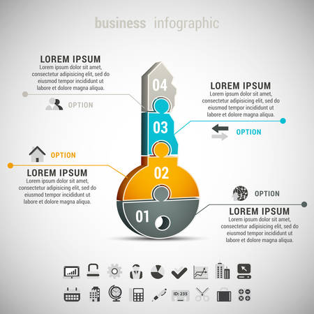 Photo pour Vector illustration of business infographic with key made of puzzle. - image libre de droit
