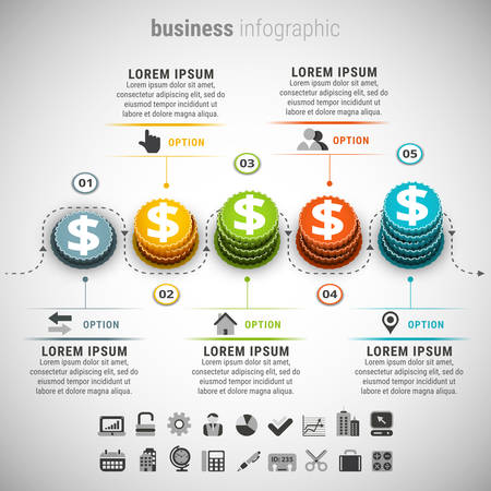 Illustration pour illustration of business infographic made of coins. - image libre de droit