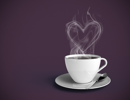 Steamy coffee cup with vapor shaped as a heart. White cup and purple background. Insert your own text.