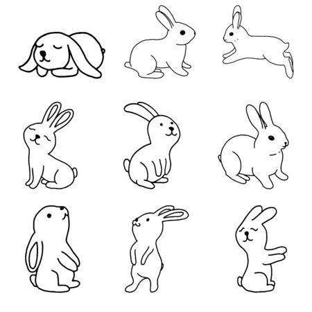 Illustration pour Set of rabbits hand drawing line monochrome image.Rabbit outline.Easter bunny.Illustration for greeting cards, Easter, children s illustration, print and textiles .Vector illustration - image libre de droit