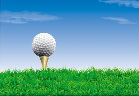Golf ball on a tee, simple golf background