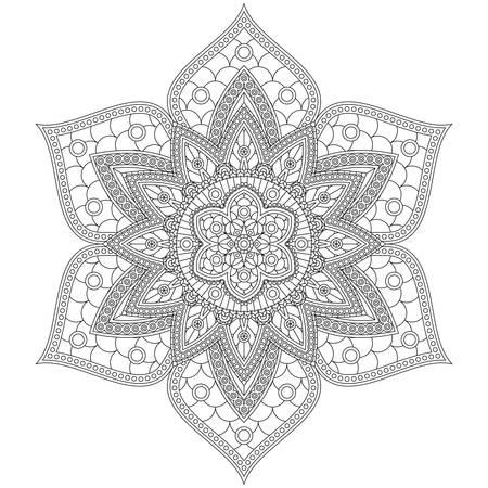 Illustration pour Coloring book with beautiful mandala flower. Black and white vector illustration. - image libre de droit