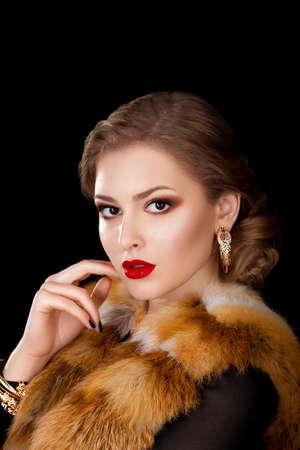 Beautiful Woman in Coat with Red Fox Fur Collar - Opera Cloak