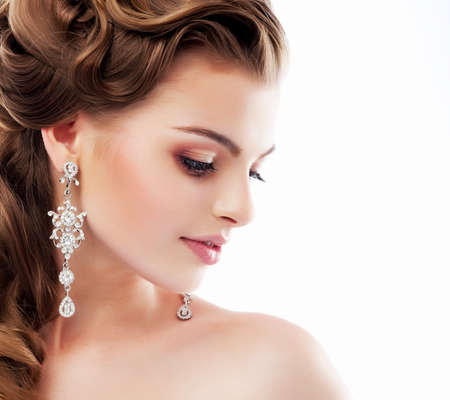 Photo pour Pure Beauty. Aristocratic Profile of smiling Lady with Glossy Diamond Earrings. Femininity & Sophistication - image libre de droit