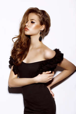 Beautiful Sensual Woman Fashion Model in Black Dress