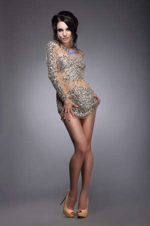Glamorous Graceful Lady in Silver Festive Dress Smiling
