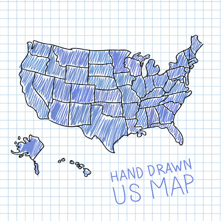 Hand drawn US map vector illustration: Royalty-free vector graphics