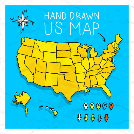Hand drawn US map whith map pins vector illustration ...