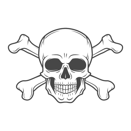 Human evil skull vector. Pirate insignia concept design. Jolly Roger with crossbones logo template. death t-shirt concept. Poison icon illustration.
