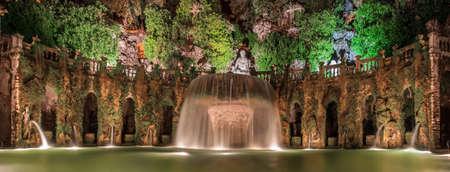 Italy, Rome, Tivoli, Fountain in the garden of the villa d'Este.
