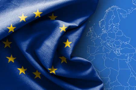 Photo pour Flag of Europe on map background - image libre de droit