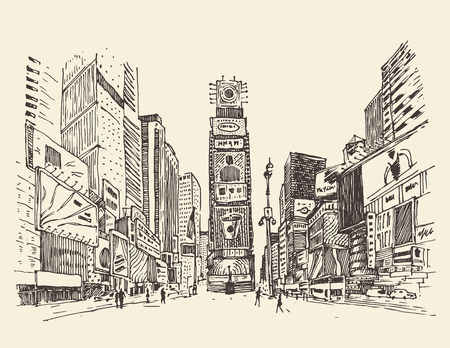 Illustration pour Times Square street in New York city engraving vector illustration hand drawn - image libre de droit