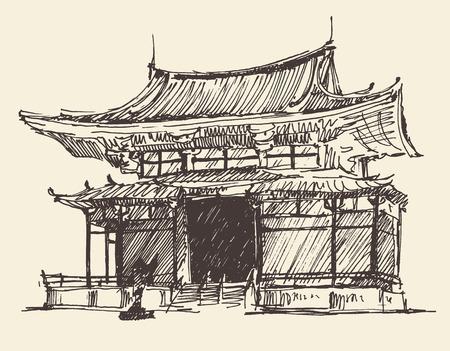 Sketch of Japan Landmark vintage illustration, engraved retro style, hand drawn sketch vector