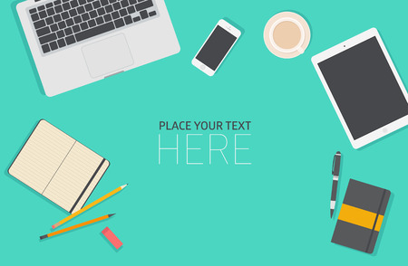 Illustration pour Set of Flat vector design illustration of modern business office and workspace. Top view of desk background with laptop, digital devices, office objects with notepad - image libre de droit