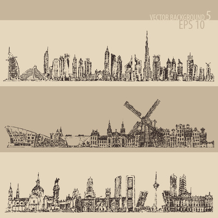 City set Dubai, Madrid, Amsterdam big city architecture vintage engraved illustration hand drawn sketch
