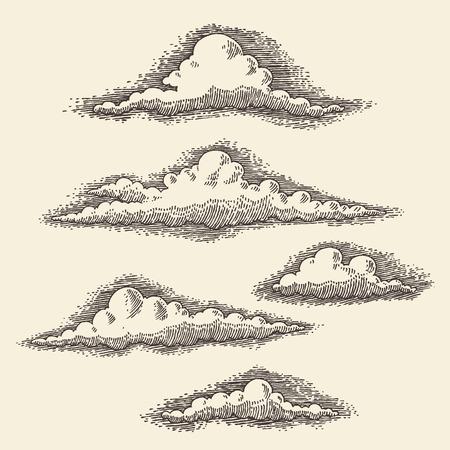 Retro clouds engraving vector illustration hand drawn sketch