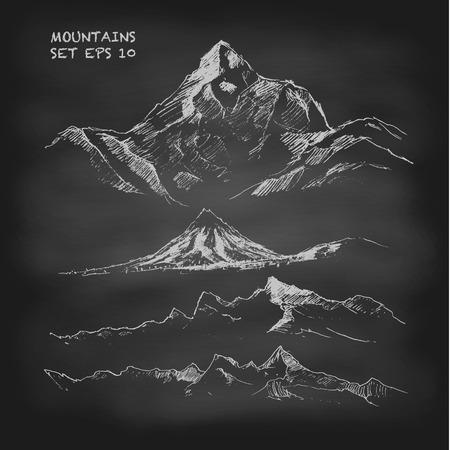 Illustration pour Hand drawn vector illustration Mountain set Vintage. Sketch. Chalkboard - image libre de droit