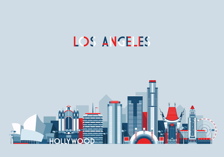 Illustrazione per Los Angeles United States city skyline vector background Flat trendy illustration - Immagini Royalty Free
