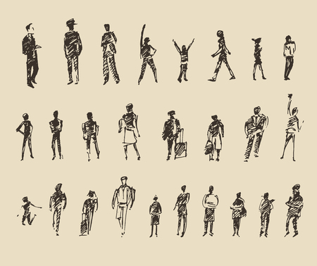 People, man and woman and children business sketch vector illustration, silhouette