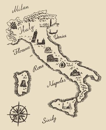 Italian map old school style vintage retro design engraved ...