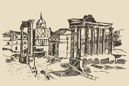 Roman Forum Ruins in Rome Landmark in Rome Italy vintage engraved illustration hand drawn sketch