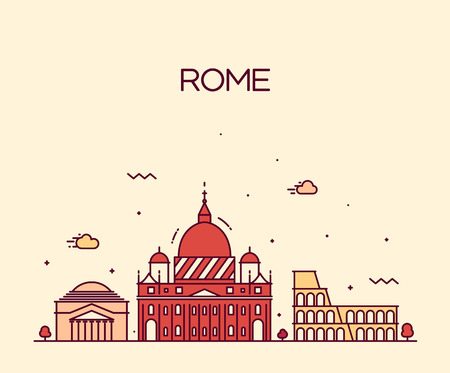 Rome City skyline detailed silhouette Trendy vector illustration, line art style