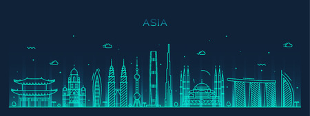 Asia skyline detailed silhouette Trendy vector illustration line art style