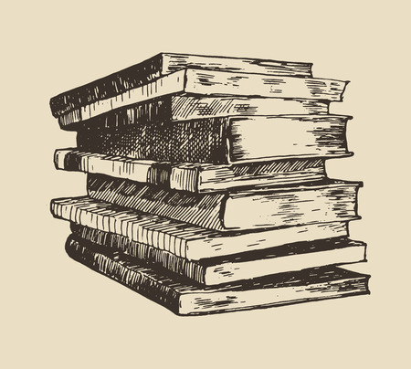 Pile stack of old books vintage hand drawn vector illustration sketch engraved style