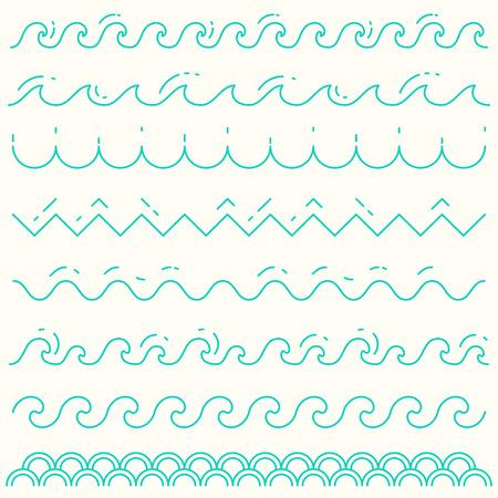 Illustration pour Set of trendy linear style waves Blue wave line pattern vector illustration - image libre de droit