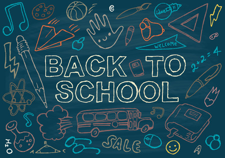 Illustration pour Back to school background design template big set of school theme icons hand drawn vector illustration - image libre de droit