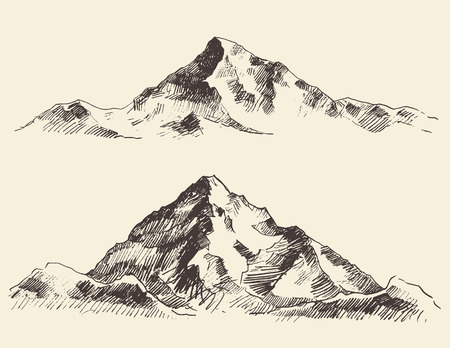 Mountains sketch contours engraving hand drawn vector