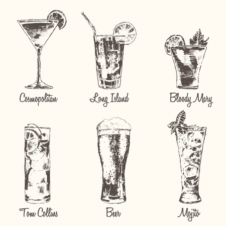 Set of cocktails Cosmopolitan Tom Collins Bloody Mary Long Island Beer Mojito Vintage engraved vector illustration hand drawn